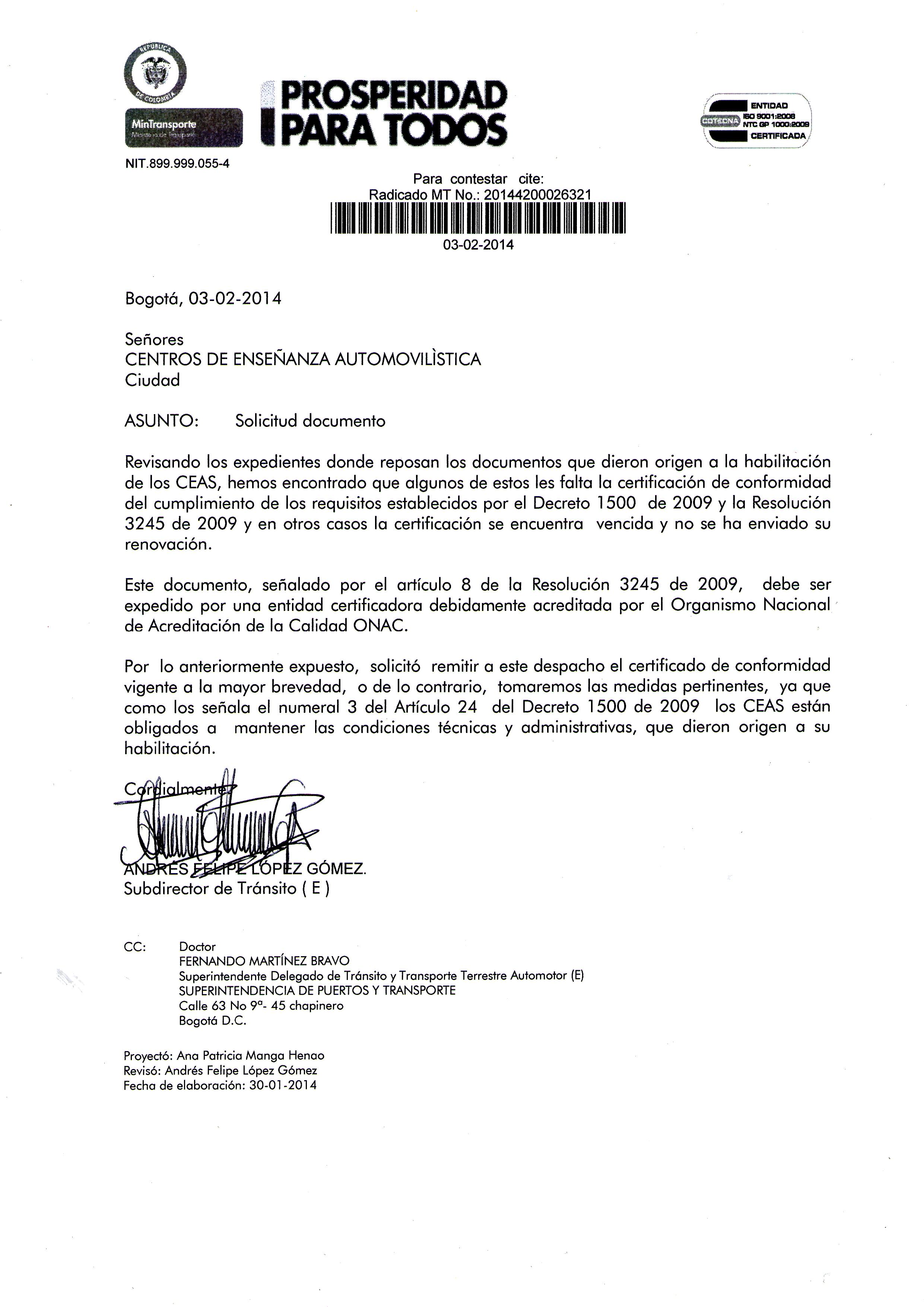 Circulares | Ministerio de Transporte de Colombia