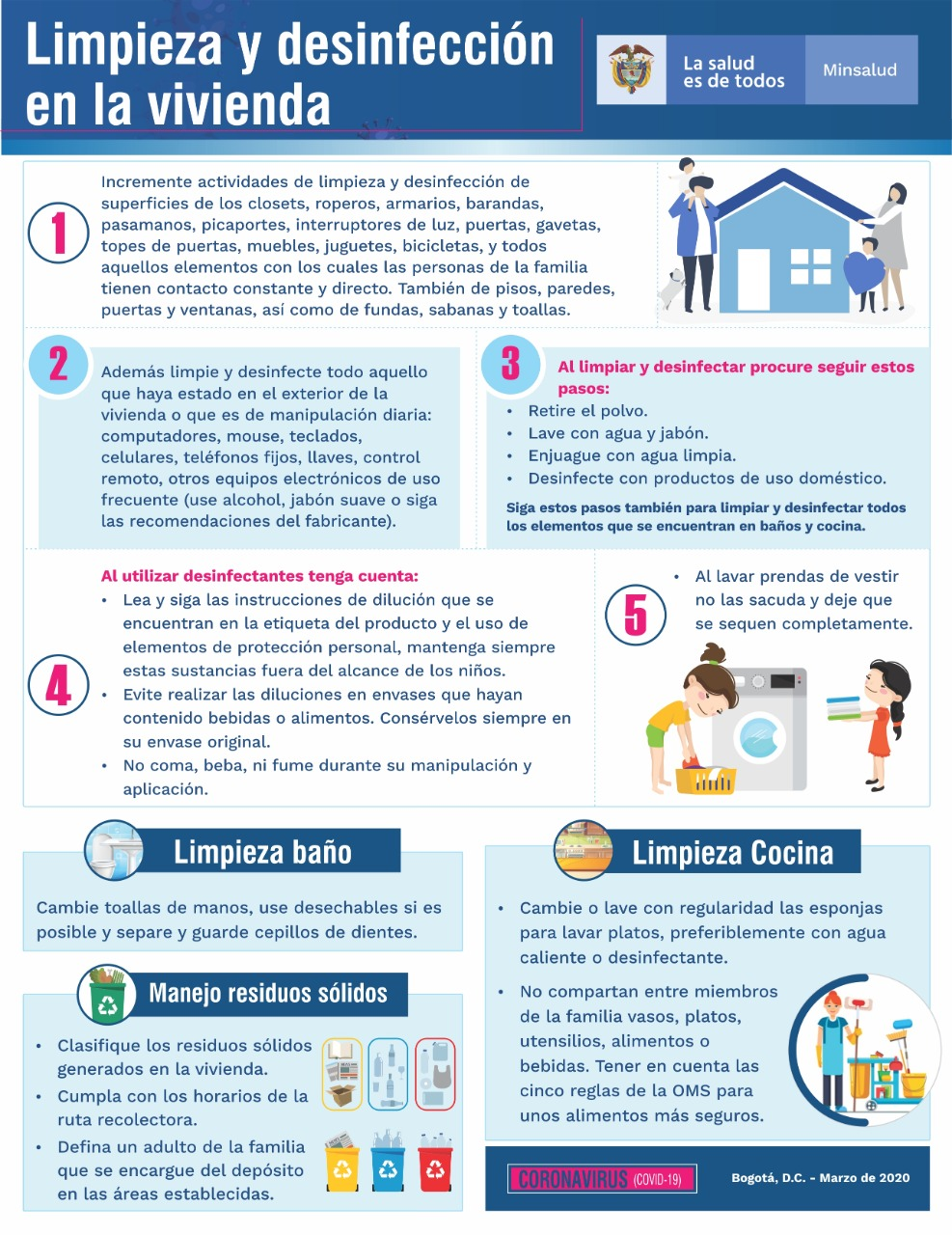 Limpieza y desinfección en la vivienda