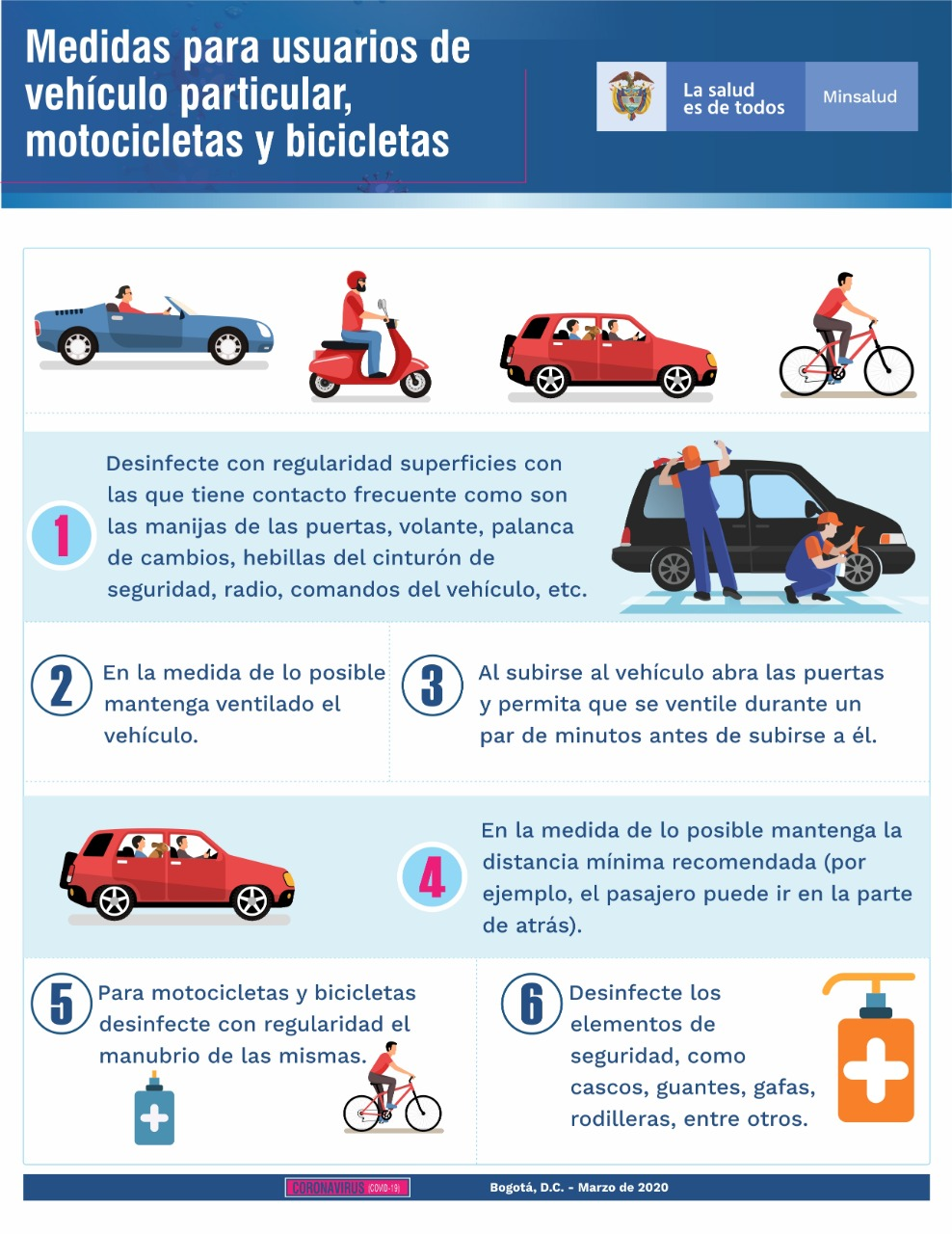 Medidas para usuarios de vehículos particular, motocicletas y bicicletas