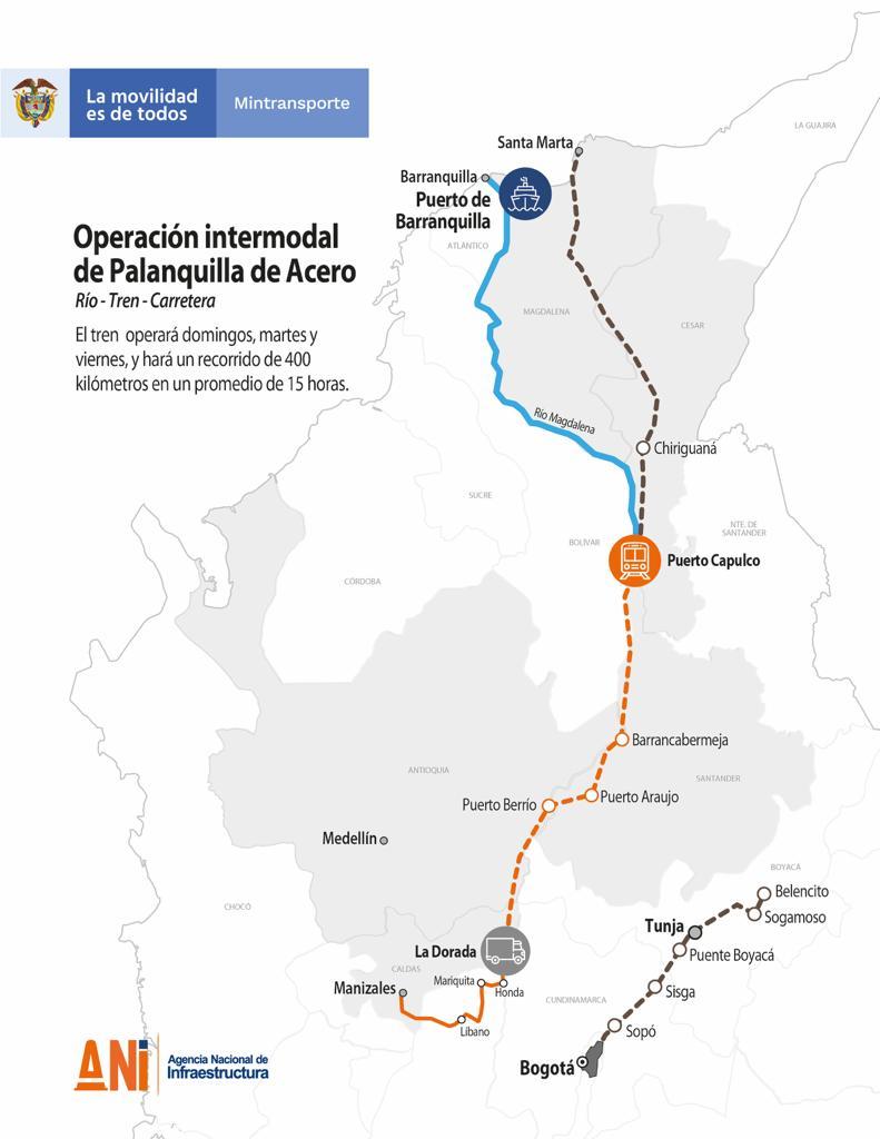 Colombia reactiva el multimodalismo con la operación comercial del tren de carga entre La Dorada y Chiriguaná - interna
